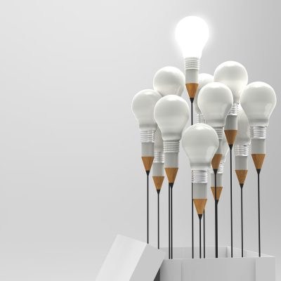 Drawing,Idea,Pencil,And,Light,Bulb,Concept,Outside,The,Box